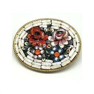 Micro Mosaic Millefiori Brooch Pin Floral on White